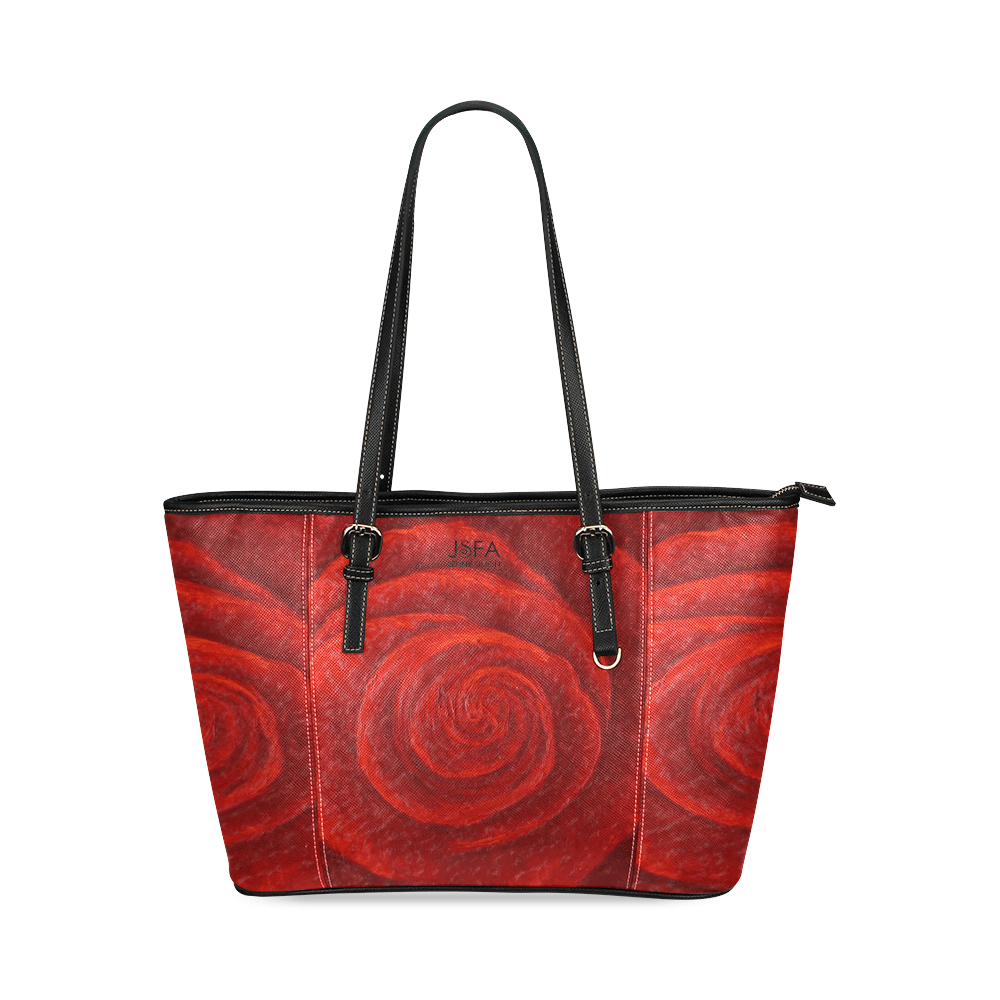 Red Rose Leather Tote Bag Black Trim | JSFA - JSFA - Original Art On Fashion by Jenny Simon
