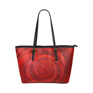 Red Rose Medium Zipper Leather Tote Bag | JSFA - JSFA - Original Art On Fashion by Jenny Simon