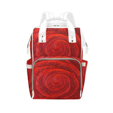Load image into Gallery viewer, Red Rose Multi-Function Backpack | JSFA - JSFA - Original Art On Fashion by Jenny Simon
