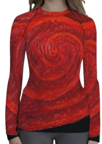 Red Rose on Long Sleeve Shirt/ Rash Guard For Women - JSFA - Original Art On Fashion by Jenny Simon