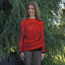 Load image into Gallery viewer, Red Rose on Long Sleeve Shirt/ Rash Guard For Women - JSFA - Original Art On Fashion by Jenny Simon
