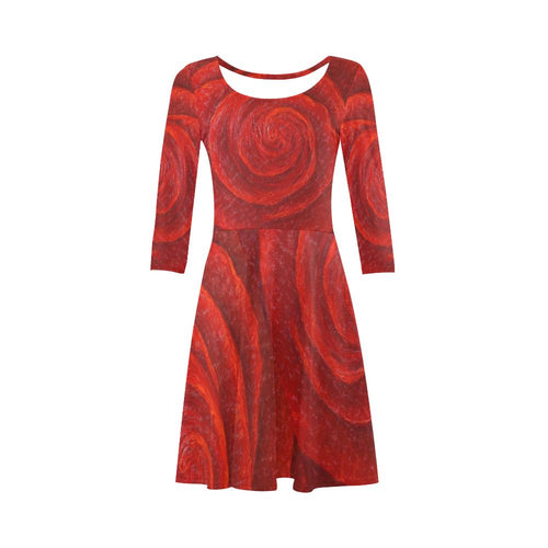 Red Rose Skater Dress 3/4 Sleeve | JSFA - JSFA - Original Art On Fashion by Jenny Simon