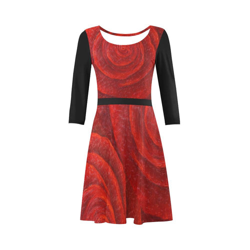 Red Rose Skater Dress Black Sleeves 3/4 Sleeve | JSFA - JSFA - Original Art On Fashion by Jenny Simon