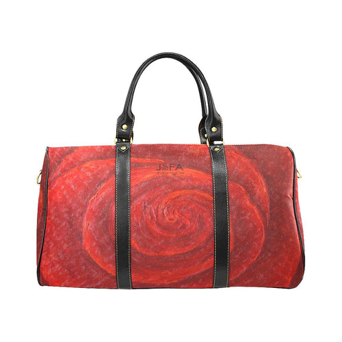 Red Rose Travel Bag Black Straps | JSFA - JSFA - Original Art On Fashion by Jenny Simon