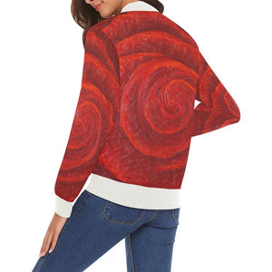 Red Rose Women's Casual Bomber Jacket | JSFA - JSFA - Original Art On Fashion by Jenny Simon