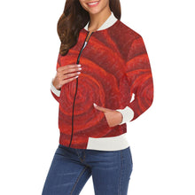 Load image into Gallery viewer, Red Rose Women's Casual Bomber Jacket | JSFA - JSFA - Original Art On Fashion by Jenny Simon