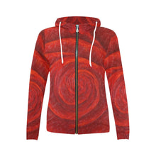 Load image into Gallery viewer, Red Rose Women's Zip Up Hoodie Jacket | JSFA - JSFA - Original Art On Fashion by Jenny Simon