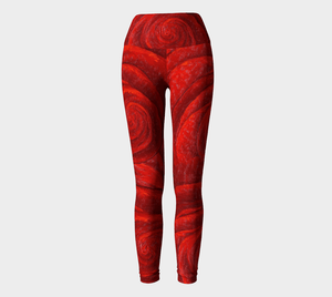Red Rose Yoga Pants | JSFA - JSFA - Original Art On Fashion by Jenny Simon