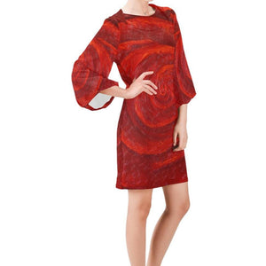 Red Roses Bell Sleeve Dress | JSFA - JSFA - Original Art On Fashion by Jenny Simon