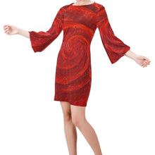 Load image into Gallery viewer, Red Roses Bell Sleeve Dress | JSFA - JSFA - Original Art On Fashion by Jenny Simon
