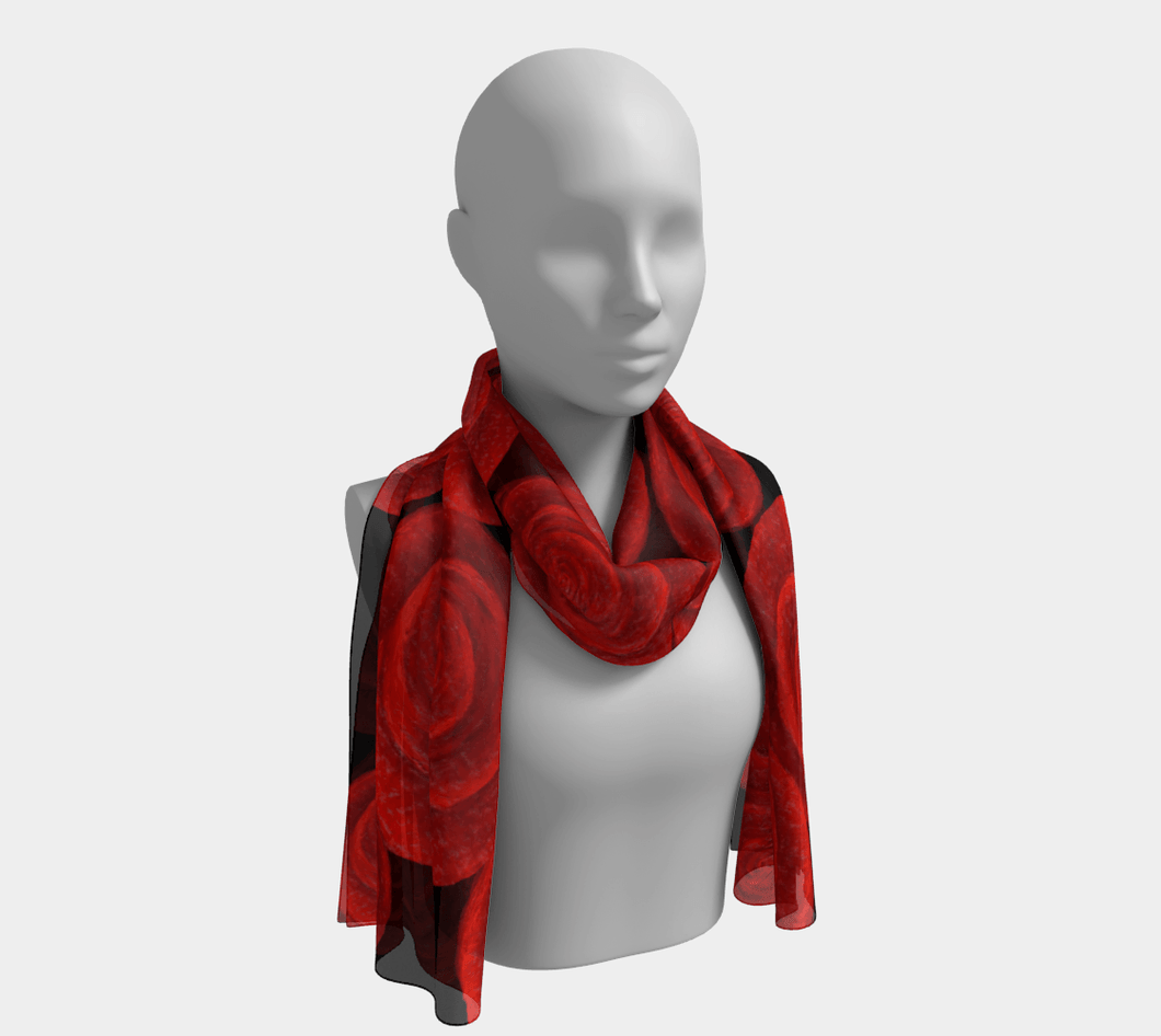 Red Roses Long Scarf by JSFA - JSFA - Original Art On Fashion by Jenny Simon