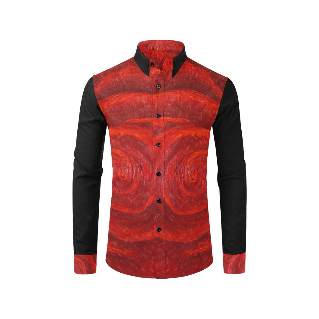 Red Roses Long Sleeve Men's Shirt | JSFA - JSFA - Original Art On Fashion by Jenny Simon