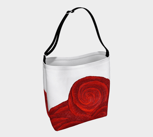Rose Bud White Shopper | JSFA - JSFA - Original Art On Fashion by Jenny Simon