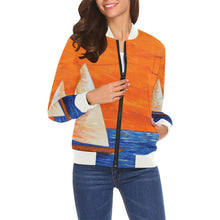Load image into Gallery viewer, Sail Boats Orange Sky Women's Casual Bomber Jacket | JSFA - JSFA - Original Art On Fashion by Jenny Simon