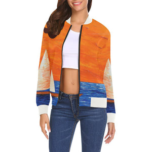 Sail Boats Orange Sky Women's Casual Bomber Jacket | JSFA - JSFA - Original Art On Fashion by Jenny Simon