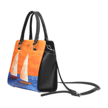 Load image into Gallery viewer, Sailboats Orange Blue Classic Handbag Top Handle | JSFA - JSFA - Original Art On Fashion by Jenny Simon