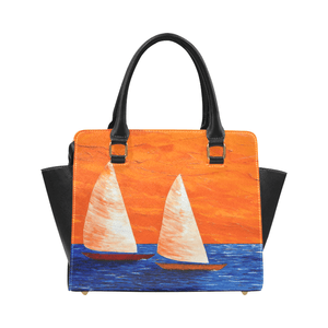 Sailboats Orange Blue Classic Handbag Top Handle | JSFA - JSFA - Original Art On Fashion by Jenny Simon