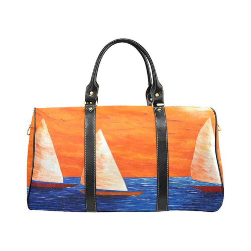 Sailboats Orange Blue Water Travel Bag | JSFA - JSFA - Original Art On Fashion by Jenny Simon