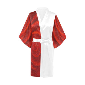 SATIN Red Rose Kimono Robes Black Or White Trim | JSFA - JSFA - Original Art On Fashion by Jenny Simon