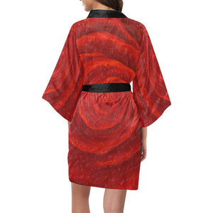 SATIN Women's Kimono Robes Black Or White Trim | JSFA - JSFA - Original Art On Fashion by Jenny Simon