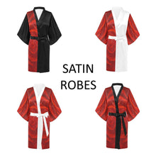 Load image into Gallery viewer, SATIN Women's Kimono Robes Black Or White Trim | JSFA - JSFA - Original Art On Fashion by Jenny Simon