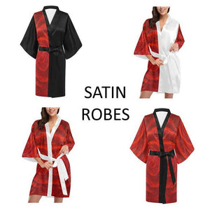 SATIN Women's Rose Kimono Robes Black Or White Trim | JSFA - JSFA - Original Art On Fashion by Jenny Simon