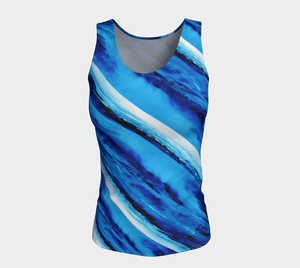 Spellbound Blue Long Tank | JSFA - JSFA - Original Art On Fashion by Jenny Simon