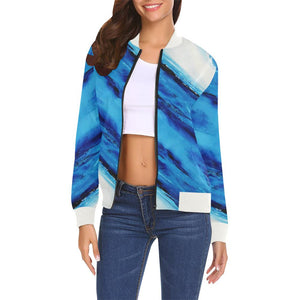 Spellbound Blue Stripes Women's Casual Bomber Jacket | JSFA - JSFA - Original Art On Fashion by Jenny Simon