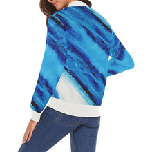Load image into Gallery viewer, Spellbound Blue Stripes Women's Casual Bomber Jacket | JSFA - JSFA - Original Art On Fashion by Jenny Simon