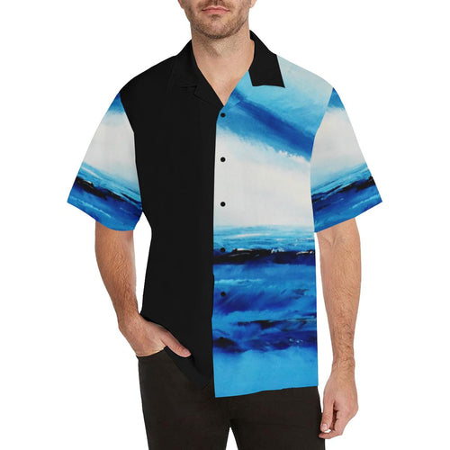 Spellbound Blue-White Black Sleeve Hawaiian Shirt | JSFA - JSFA - Original Art On Fashion by Jenny Simon