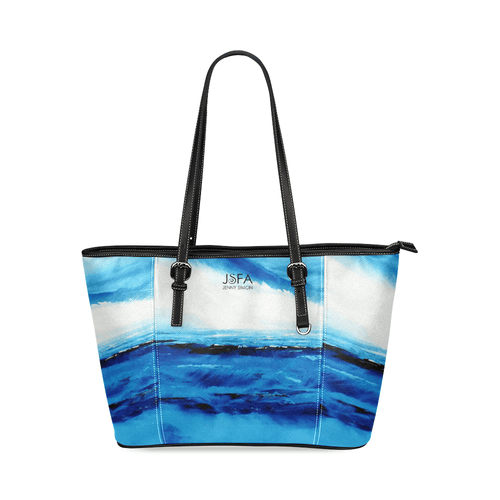 Spellbound Blue White Leather Tote Bag | JSFA - JSFA - Original Art On Fashion by Jenny Simon