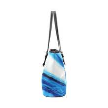 Load image into Gallery viewer, Spellbound Blue White Leather Tote Bag | JSFA - JSFA - Original Art On Fashion by Jenny Simon