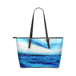 Spellbound Blue White Medium Zipper Leather Tote Bag | JSFA - JSFA - Original Art On Fashion by Jenny Simon