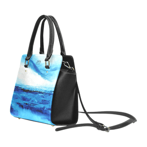 Spellbound Blue White Ocean Classic Handbag Top Handle | JSFA - JSFA - Original Art On Fashion by Jenny Simon