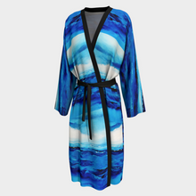 Load image into Gallery viewer, Spellbound White Blue Women's Robe Duster | JSFA - JSFA - Original Art On Fashion by Jenny Simon