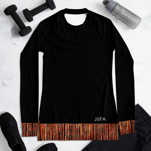 Splash Long Sleeve Shirt/ Rash Guard Black Stripes - JSFA - Original Art On Fashion by Jenny Simon