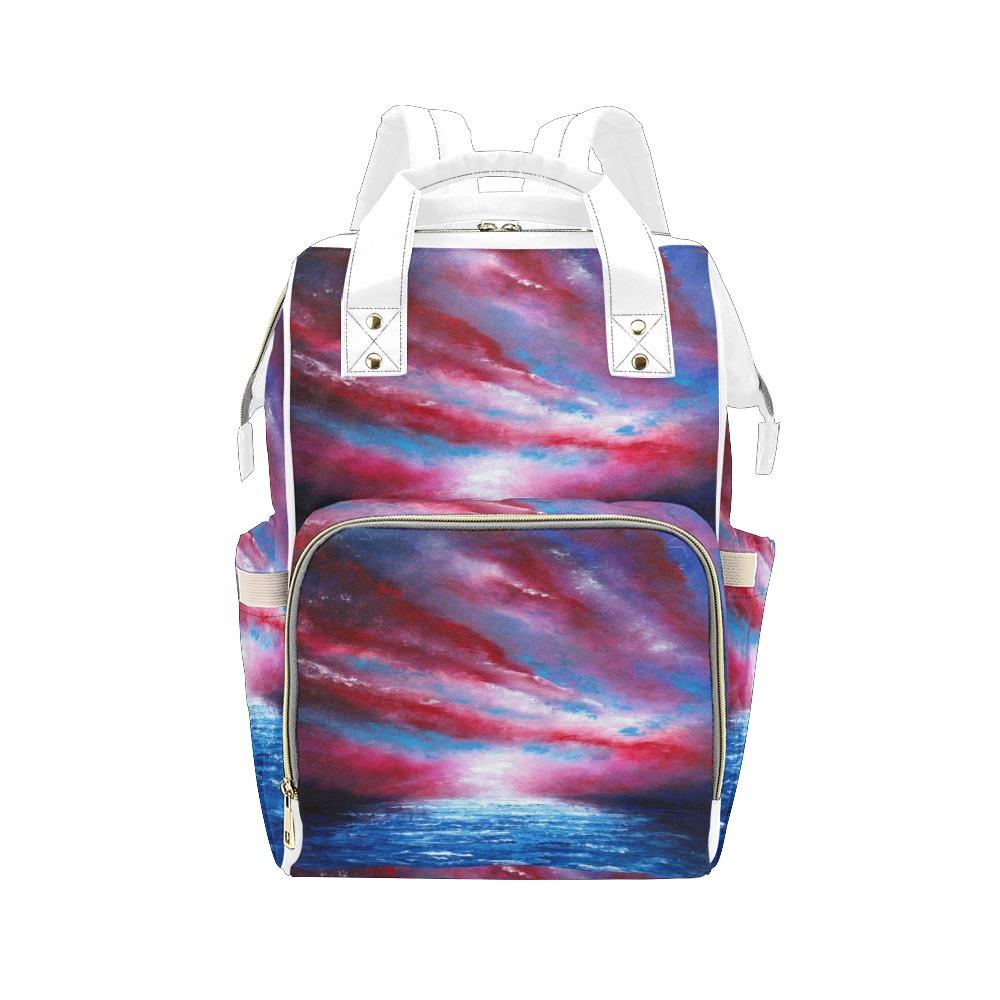 Stars Stripes Red White Blue Multi-Function Backpack | JSFA - JSFA - Original Art On Fashion by Jenny Simon