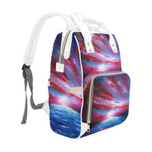 Load image into Gallery viewer, Stars Stripes Red White Blue Multi-Function Backpack | JSFA - JSFA - Original Art On Fashion by Jenny Simon
