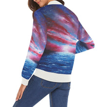 Load image into Gallery viewer, Stars & Stripes Women's Casual Bomber Jacket | JSFA - JSFA - Original Art On Fashion by Jenny Simon