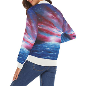 Stars & Stripes Women's Casual Bomber Jacket | JSFA - JSFA - Original Art On Fashion by Jenny Simon