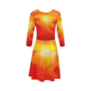 Sunset Magic Orange 3/4 Sleeve Skater Dress | JSFA - JSFA - Original Art On Fashion by Jenny Simon