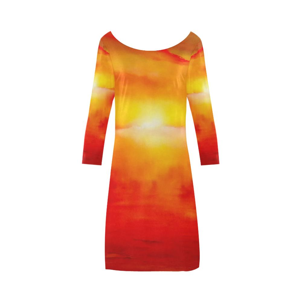 Sunset Magic Orange A-Line Dress For Women | JSFA - JSFA - Original Art On Fashion by Jenny Simon