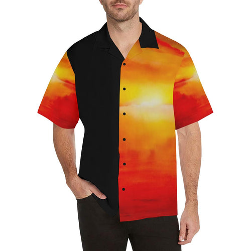 Sunset Magic Orange Black Side Hawaiian Shirt | JSFA - JSFA - Original Art On Fashion by Jenny Simon