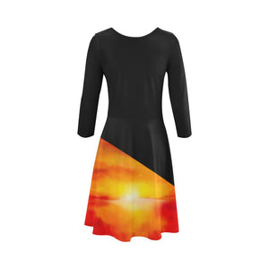 Sunset Magic Orange Black Skater Dress | JSFA - JSFA - Original Art On Fashion by Jenny Simon