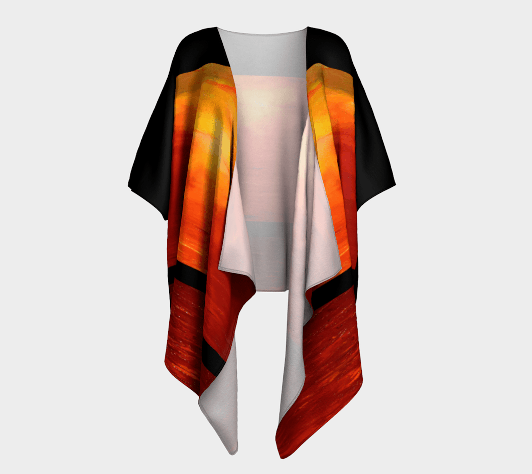 Sunset Magic Orange Black Striped Kimono Wrap | JSFA - JSFA - Original Art On Fashion by Jenny Simon