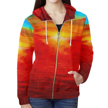 Load image into Gallery viewer, Sunset Magic Orange Women's Zip Up Hoodie Jacket | JSFA - JSFA - Original Art On Fashion by Jenny Simon