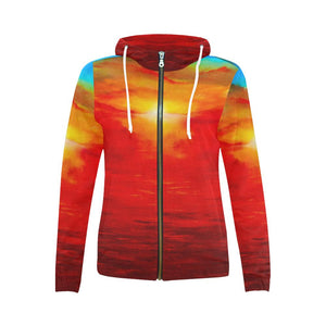 Sunset Magic Orange Women's Zip Up Hoodie Jacket | JSFA - JSFA - Original Art On Fashion by Jenny Simon