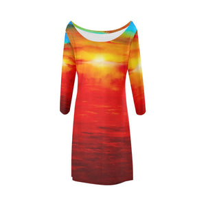 Sunset Magic Orange/Blue A-Line Dress | JSFA - JSFA - Original Art On Fashion by Jenny Simon