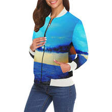 Load image into Gallery viewer, Turquoise Gold Blue Women's Casual Bomber Jacket | JSFA - JSFA - Original Art On Fashion by Jenny Simon