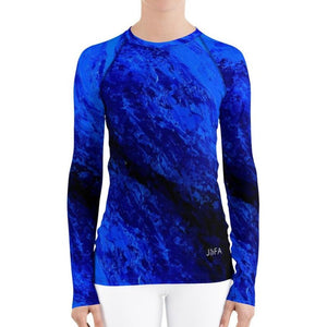 Women's Blue Secret Long Sleeve Shirt/ Rash Guard - JSFA - Original Art On Fashion by Jenny Simon